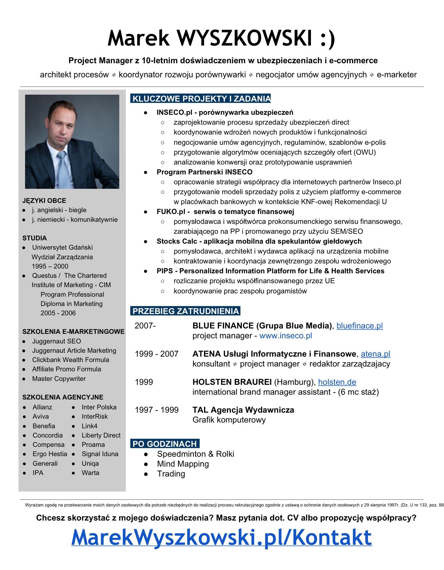 gotowe cv czyli marek zawodowiec gotowe cv marek wyszkowski